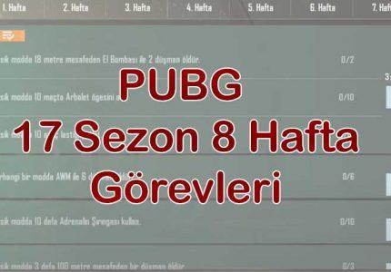 PUBG 17 Sezon 8 Hafta Görevleri